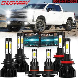 For GMC Sierra 1500 2500 3500 2007-2013 6pc LED Headlights+Fog Light Bulbs 6000K