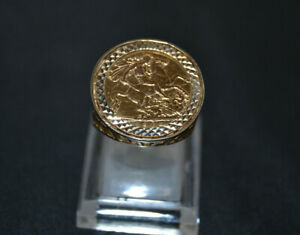 1909 22ct Gold Half Sovereign Ring In 9ct Yellow Gold Mount