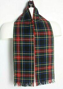 Vintage Lochcarron Black Stewart 100% New Wool Made In Scotland Scarf