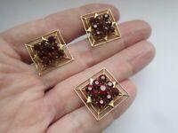 Vintage Ruby Glass Set Gold Tone Metal Brooch & Screw Back Earrings Matching Set