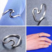Mode Sterling Silber Ocean Wave Fashion Ring Größe 6-10 NEUE Frauen Schmuck