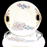 "ENGLISH PORCELAIN 2 PIECE ENAMEL FLORAL OPEN HANDLE 10 1/8"" CAKE PLATE"