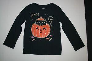 New Carter's Girls 14 year Halloween Kitty Cat Jack O Lantern Pumpkin Top Tee