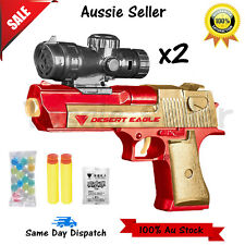 Water Gel Ball Gun Pistol Blaster Soft Crystal Bullet Kids Children Toy Game X2