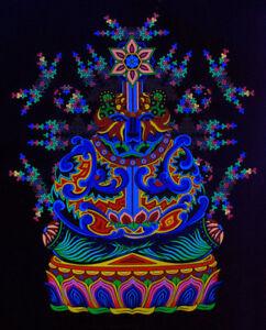 Fluorescent Backdrop Psychedelic Art Trippy Wall Art Visionary Tapestry UV Bear