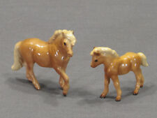Vintage Hagen-Renaker #3066 Mare and #3067 Foal Palomino Shetland Ponies