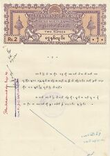 BURMA:19522 Rupees  REVENUE stamp paper printed on A4 sheet-used