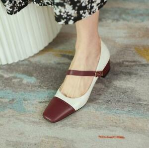 Women Trendy Retro Square Toes Color Matching Shoes Pumps Mid Heels Dress Shoe d