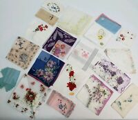 Fabulous 19 Vintage Ladies Hankies Variety Sizes & Colors Handkerchief