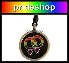 Rainbow Male Symbol Pewter Pendant Necklace Gay Pride #680