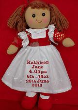"""Personnalisé poupée de chiffon pour nouveau bébé fille de 16 """"ours Cadeaux"""