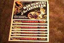 MAN HUNTERS OF CARIBBEAN 11X14 LOBBY CARD SET 1936 JUNGLE SAFARI WILD ANIMALS