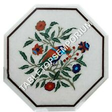 """18"""" White Marble Coffee Center Table Top Marquetry Inlay Furniture Decor H4917"""