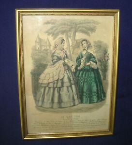 Le Bon Ton Journal de Modes Chapeau de Mariton Framed Fashion Plate 1850s