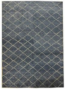 5' 7'' x 7' 4'' Modern Midnight Blue 6x7 Rug Genuine Handmade Flat Carved Grid