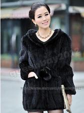100% Real Knitted Mink Fur Long Coat Jacket Hoody Outwear Warm Women 5 Colors