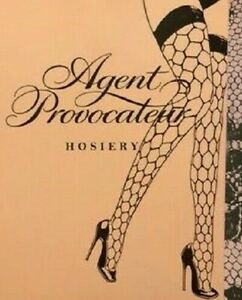 Agent Provocateur hold up stockings M jumbo fishnet blue BUBBLES ladies new