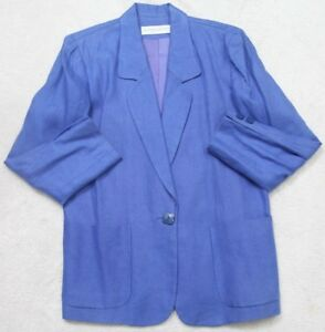 Valerie Stevens Dress Jacket Coat Womens Button Up Blue 6 Petite Solid Linen Six