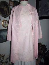 "Unique Spring Pink Brocade Dress & Coat Ensemble Custom vintage 1960's 38"" Bust"