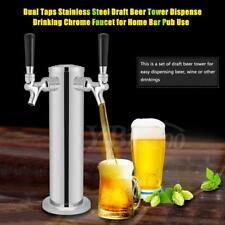 Double 2 Tap Steel Draft Beer Tower Kegerator Dual Chrome Faucets Home Bar Pub S