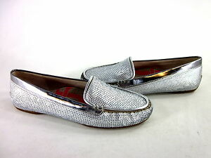 JOAN & DAVID WOMEN'S COLLECTION FALINE FLAT SILVER SYNTHETIC US SIZE 8 EUR 38 M