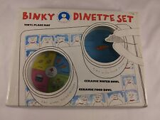 New listing Binky Dinette Set - Ceramic Food and Water Bowls w/ Vinyl Place Mat