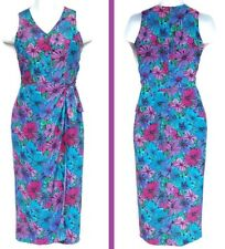 Spenser Jeremy womens dress floral maxi silk size 6 Small multicolor wrap blue
