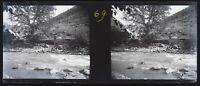 Caucaso Rivière Negativo Stereo V12L25n8 Placca Da Lente Vintage c1910