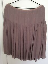Esprit Silk Brown Flare Skirt With Thin Golden Vertical Stripes & Lining Size 10