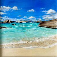 Beach Seaside Original Oil Painting-seascape Painting Realism-FRAMED beach Walk