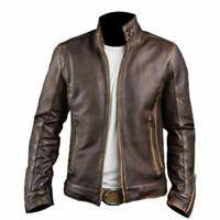 XMen Biker Retro Cafe Racer 2 Vintage Motorcycle Distressed Brown Leather Jacket