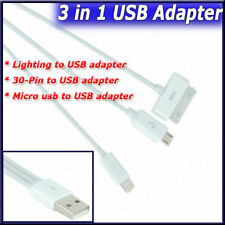 For Apple iphone 2pcs Micro 3 in 1 Plug 30 Pin Cable Charger Mini USB to USB 2.0