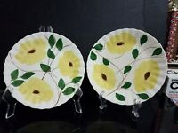 2 Vintage Hand Painted Blue Ridge Southern Pottery RIDGE DAISY Dinner Plates