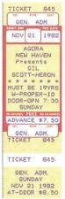 Gil Scott-Heron 1982 Unused Ticket Agora New Haven Ct