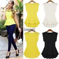 Womens Lace Peplum Bodycon Blouse Sleeveless Shirt Doll Chiffon Dress Tops LM