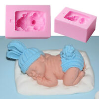 Newborn Sleeping Baby Shape Silicone Fondant Mold Cake Decorating 3D Mould