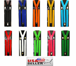 Boys Girls Kids Child Children Clip on Y Back Elastic Suspenders Kid Suspender