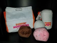 Dunkin Donuts Dog Toys Munchkins Coffee Cup Bark Pet Plush Squeakers Crinkle NEW