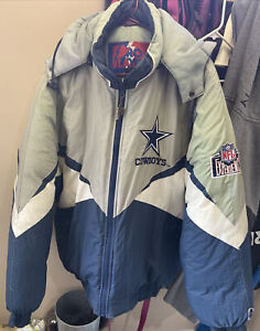 Vintage Dallas Cowboys Pro Player Puffer Jacket Coat 1990s NFL Adult Sz XL