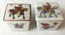 2 old Chinese Porcelain flowered covered Salt cellars Condiment Box