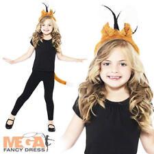 Kids Fox Kit Animal Fancy Dress Childrens Headband + Tail Book Week Costume Set