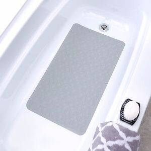 Mildew Resistant Large Rubber Bath Safety Mats: Blue, Black, White, Tan, Gray