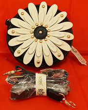 LYDC Cross Body Bag Black Ivory Cream colour Sunflower Daisy Design Faux Leather