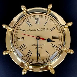 Antique Reproduction Solid Brass Ship Clock Vintage Style Maritime Wall Clock.