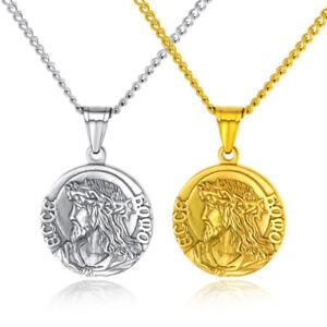 Stainless Steel Pendant Necklace for Men Jesus Head portrait Religious Jewellery