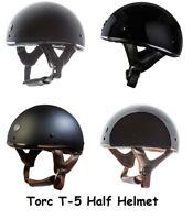 Torc T-5 Skull Cap Motorcycle Half Helmet Fiberglass Lightweight Low Profile