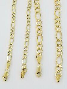 14k Yellow Gold Solid Cuban Figaro Link Bracelet lobster Lock in 8inch Men Women