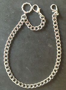 New silver colour Albert pocket watch chain with clasp for trouser belt loop