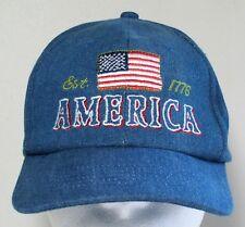 America Est. 1776 Denim Strapback Hat Trucker Baseball Cap Flag USA