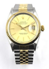 VINTAGE ROLEX OYSTER PERPETUAL DATEJUST 16013 WRISTWATCH 18K STAINLESS c.1986